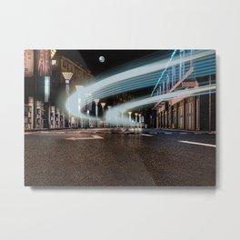 A night street with car traces (Nantong, China) (2015-7NN18) Metal Print
