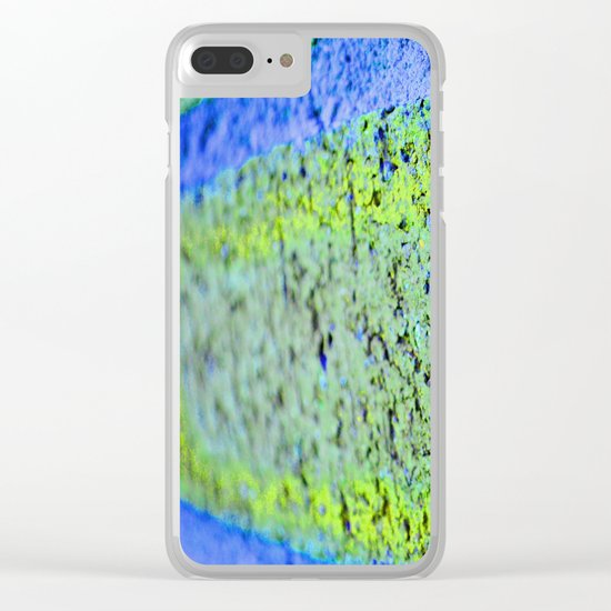 Neon Blue Brick Abstract Clear iPhone Case