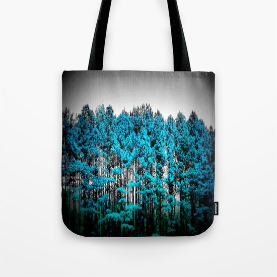 Turquoise Trees Gray Sky Tote Bag
