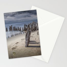 Footprints and Pilings on the Beach at Kirk Park by Grand Haven Michigan Stationery Cards