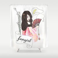 fangirl Shower Curtains featuring Fangirl by Zomberflie