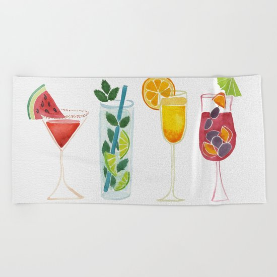 Summer Cocktails Beach Towel