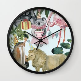 animals party (birthday) Wall Clock
