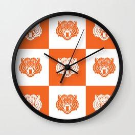 Orange and White Nine Tiger Cares Wall Clock