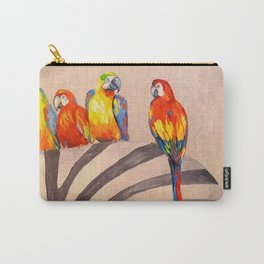 Parrots on Zebra Carry-All Pouch