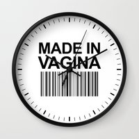 vagina Wall Clocks featuring MADE IN VAGINA BABY FUNNY BARCODE by CreativeAngel