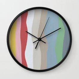 Colorful Ocean Wavy Stripe Painting by Christie Olstad Wall Clock