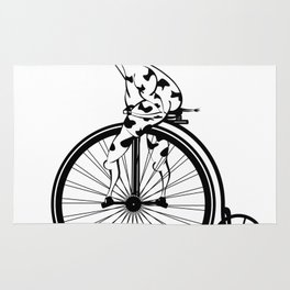 Giraffe Riding A Penny-Farthing Bicycle Rug