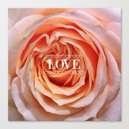 Rose peach, LOVE Canvas Print