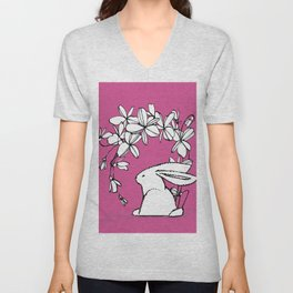 Happy Easter Pink Bunny and Flowers 2 Unisex V-Neck