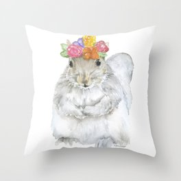 Gray Squirrel with a Floral Crown Watercolor Throw Pillow