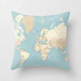 "Cream, brown and muted teal world map, ""Jett"" Throw Pillow"