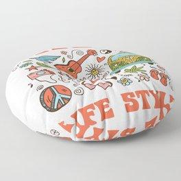 Hippie 1970 life style Floor Pillow