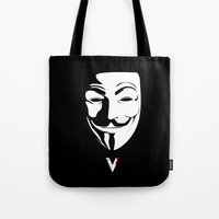 vendetta Tote Bags featuring Vendetta by The Vector Studio