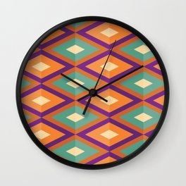 Pattern orange green Wall Clock
