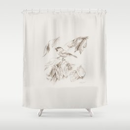 Small bird Tit Shower Curtain