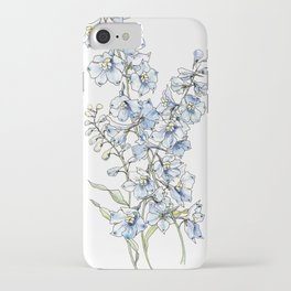 Blue Delphinium Flowers iPhone Case
