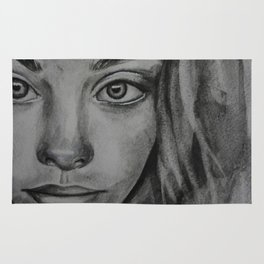 Coal portrait beautiful girl Rug