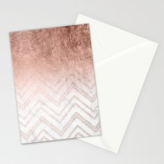Modern faux rose gold ombre chevron sticth white marble pattern Stationery Cards