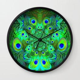 Ornate Green-Gold-Purple Peacock Feathers Art Wall Clock