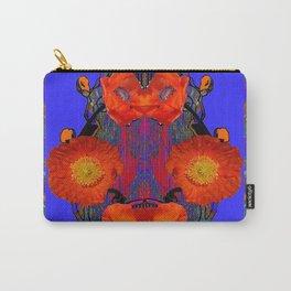 Ornate Modern Orange Poppy Flowers Ultramarine art Carry-All Pouch