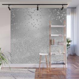 Modern silver glitter ombre metallic sparkles confetti Wall Mural