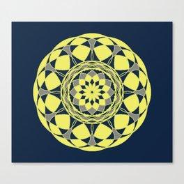 Sun Mandala Design in Gold, Gray and Navy Blue Canvas Print