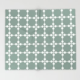Droplets Pattern - White & Sage Green Throw Blanket