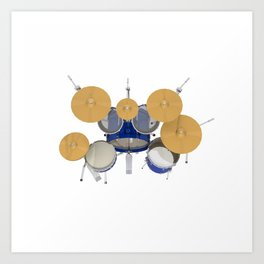 Blue Drum Kit Art Print