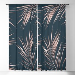 Rose Gold Pink Palm Leaves Blackout Curtain