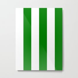 Wide Vertical Stripes - White and Green Metal Print