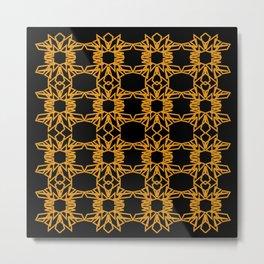 Luxury mandalas black gold Vint. Metal Print