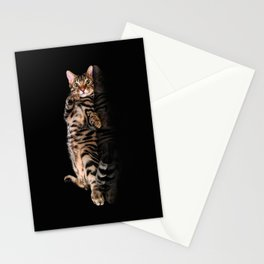 Bengal cat / Kitten on black Stationery Cards