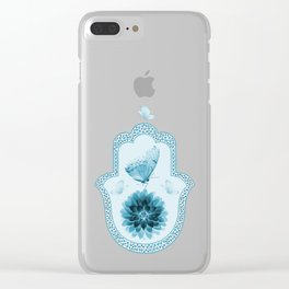 Butterfly Lotus Blue Hamsa Hand Clear iPhone Case