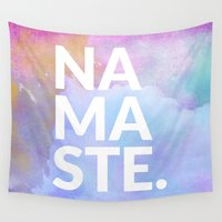 namaste Wall Tapestries featuring namaste by Amanda Nicole