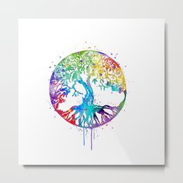 Tree of Life Art Colorful Watercolor Gift Nature Art Zen Decor Metal Print