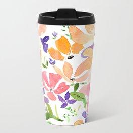 Floral Pattern Metal Travel Mug