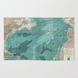 Vintage Green Transatlantic Mapping Rug
