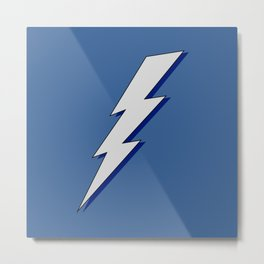 Just Me and My Shadow Lightning Bolt - Blue Background Metal Print