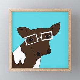 Matilda the Hipster Cow Framed Mini Art Print