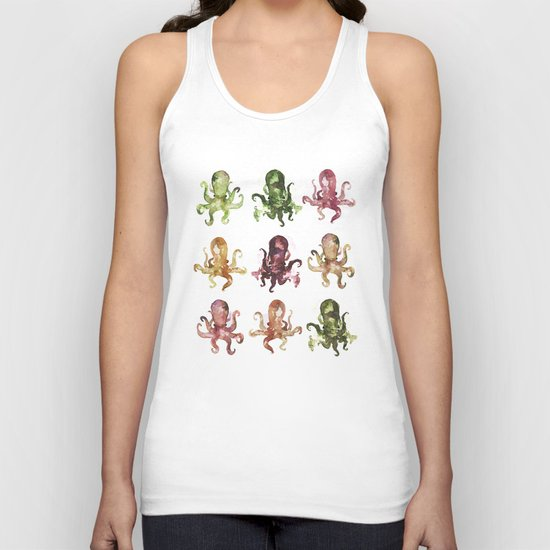 9 octopuses Unisex Tank Top