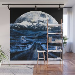 Road to Eternity (blue vintage moon mountain) Wall Mural