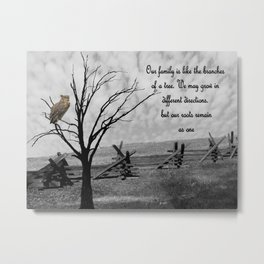 Great Horned Owl with Family Quote A570 Metal Print