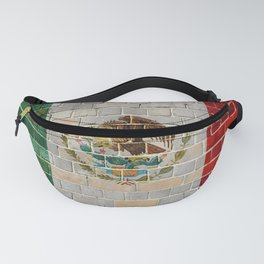 Mexico flag on a brick wall Fanny Pack