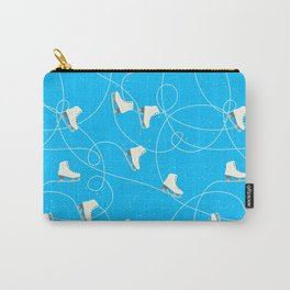 Winter Pattern Ice Skating Blue Background Carry-All Pouch