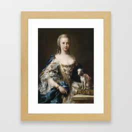 Sebastiano Ceccarini (1703–1783) Portrait of a Lady with a Lapdog Framed Art Print