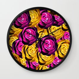 rose pattern texture abstract background in pink and yellow Wall Clock
