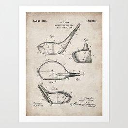 Golf Driver Patent - Golf Art - Antique Art Print