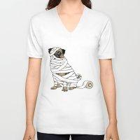 return V-neck T-shirts featuring The Mummy Pug Return by Huebucket
