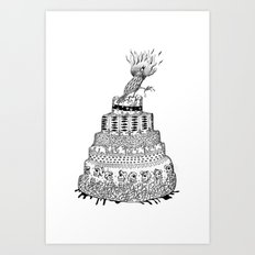Death Cake and bird Art Print